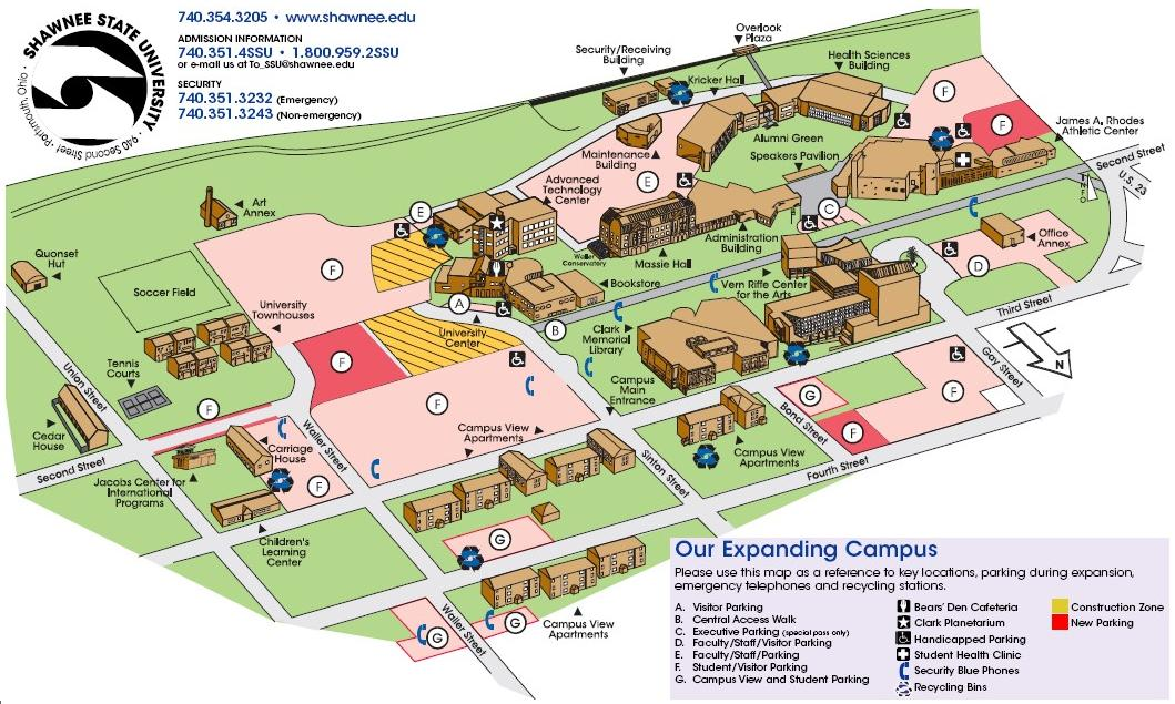 Campus Map / How to get to Shawnee State University   Shawnee