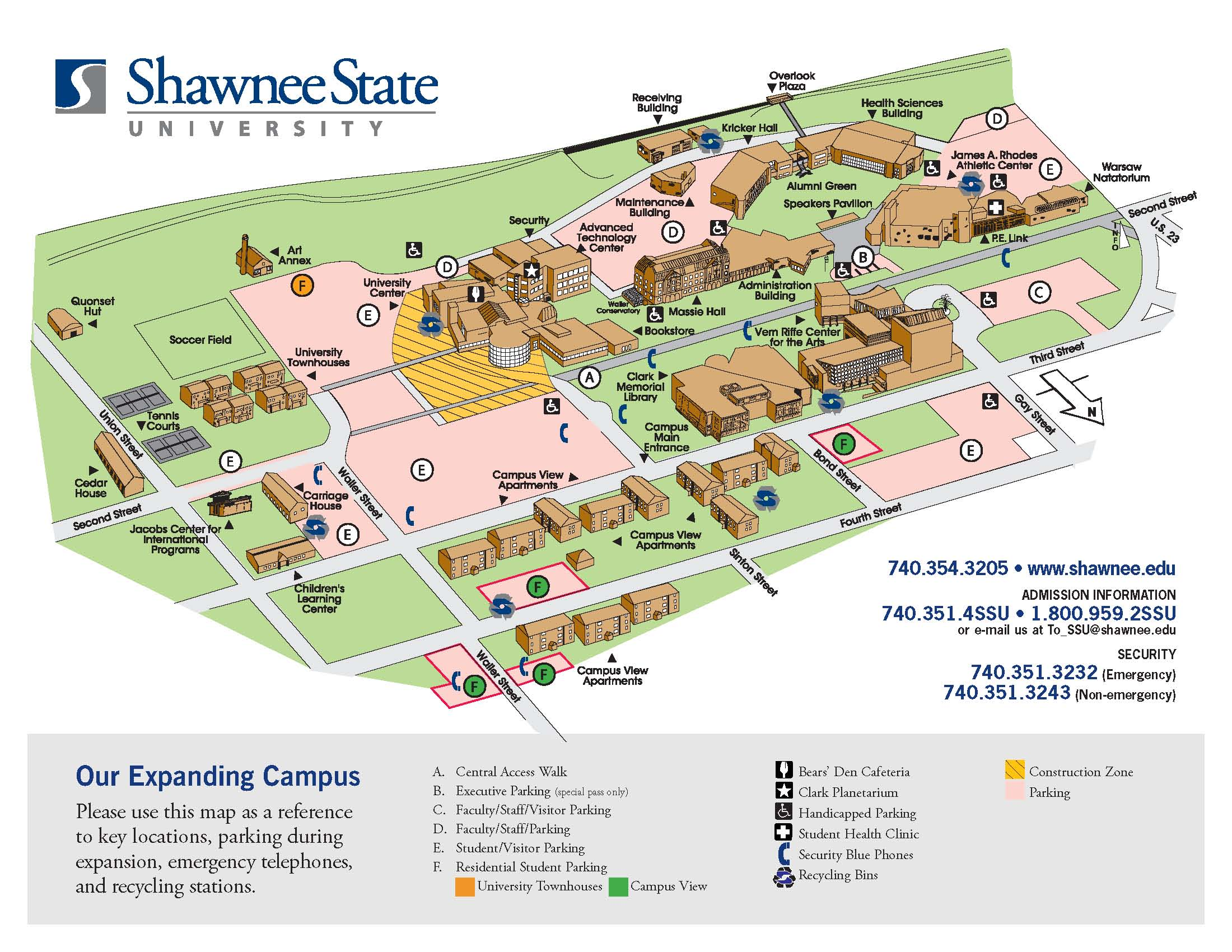 Campus Map Directions Shawnee State University Acalog Acms